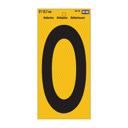 Hy-Ko RV-75 Highly Visible Reflective Weather Resistant Number Sign, 0