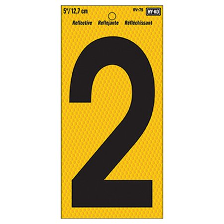 Hy-Ko RV-75 Highly Visible Reflective Weather Resistant Number Sign, 2