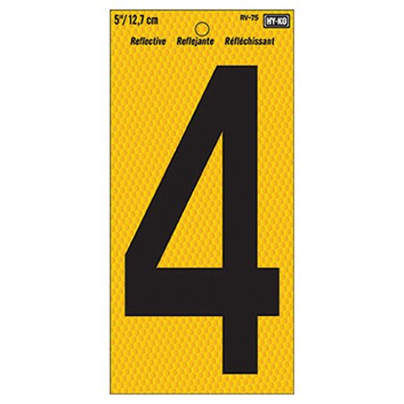 Hy-Ko RV-75 Highly Visible Reflective Weather Resistant Number Sign, 4