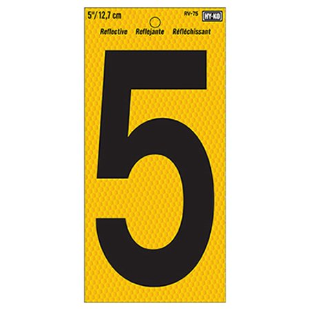 Hy-Ko RV-75 Highly Visible Reflective Weather Resistant Number Sign, 5