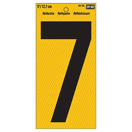 Hy-Ko RV-75 Highly Visible Reflective Weather Resistant Number Sign, 7