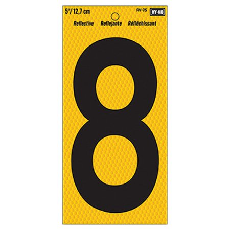 Hy-Ko RV-75 Highly Visible Reflective Weather Resistant Number Sign, 8