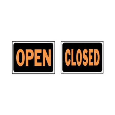Hy-Ko 3045 2-Sided Reversible Weather Resistant Hy-Glo Sign, OPEN, Closed, 9 in W