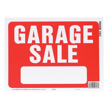 Hy-Ko 20606 Weather Resistant Sign, GARAGE SALE, 9 in W