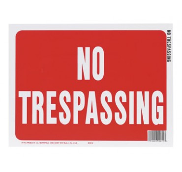 Hy-Ko 20612 Weather Resistant Sign, NO TRESPASSING, 9 in W
