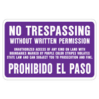 Hy-Ko SS-50 Weather Resistant Sign, NO TRESPASSING Without WRITTEN PERMISSION, 9-1/4 in W