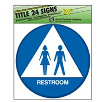 Hy-Ko T-24 Identification Sign, Restroom, 12 in W x 12 in L