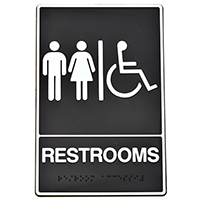Hy-Ko DB Braille/Tactile Heavy Duty Graphic Sign, Restroom, 6 in W x 9 in L