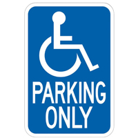 Hy-Ko HW Heavy Duty Highway Sign, Handicap Parking, 12 in W x 18 in L