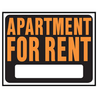 Hy-Ko SP Series Jumbo Weather Resistant Sign, Apartment FOR RENT, 15 in W
