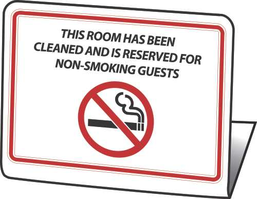 "HY-KO PRODUCTS� ""THIS ROOM IS RESERVED AS A NON-SMOKING ROOM"" EASEL, 50 PER PACK"