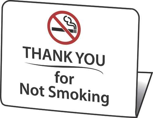 "HY-KO PRODUCTS� ""THANK YOU FOR NOT SMOKING"" EASEL, 50 PER PACK"