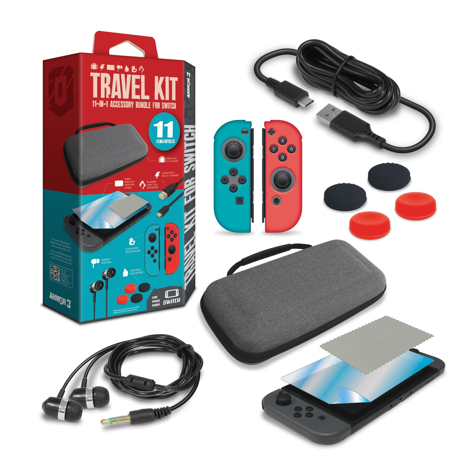 ARMOR3 M07359 TRAVEL KIT FOR SWITCH INCLUDES PROTECTIVE CASE