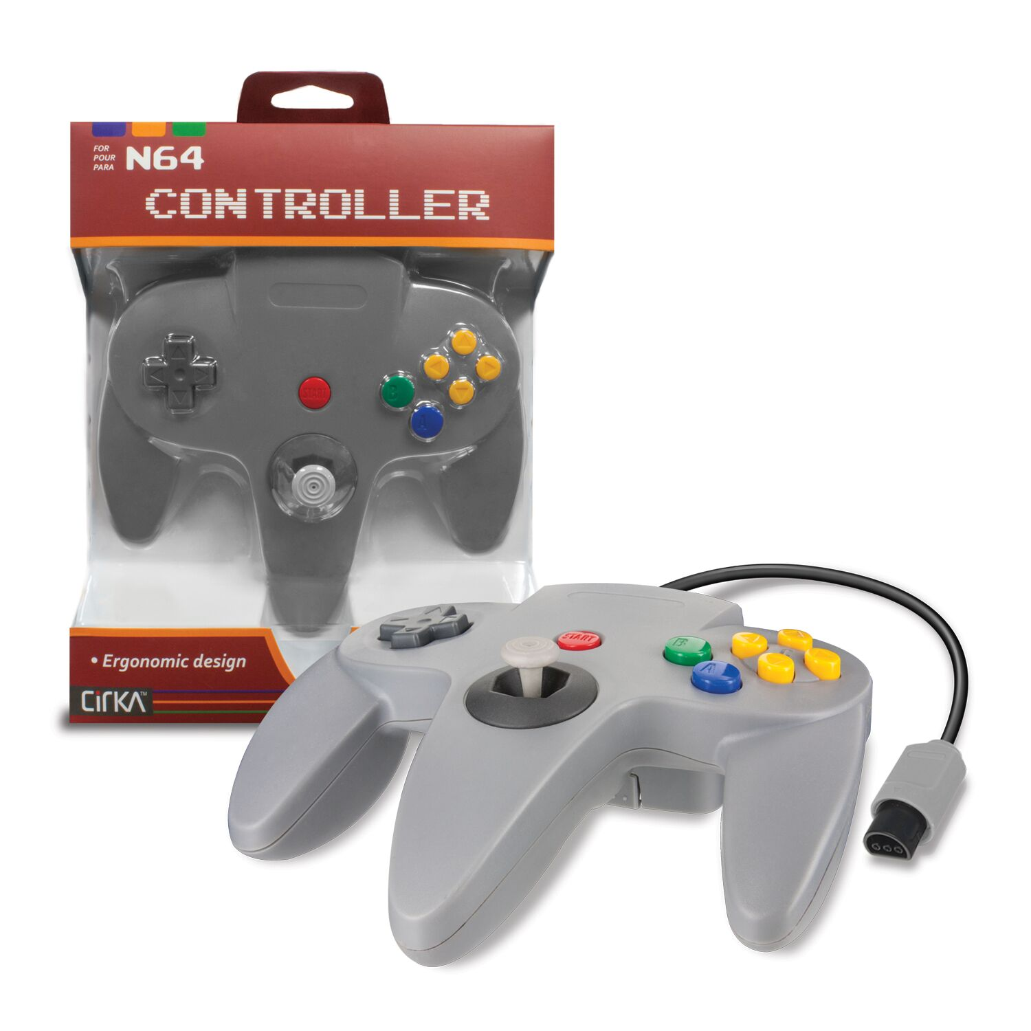 CIRKA M05786-GR GRAY WIRED CONTROLLER FOR N64