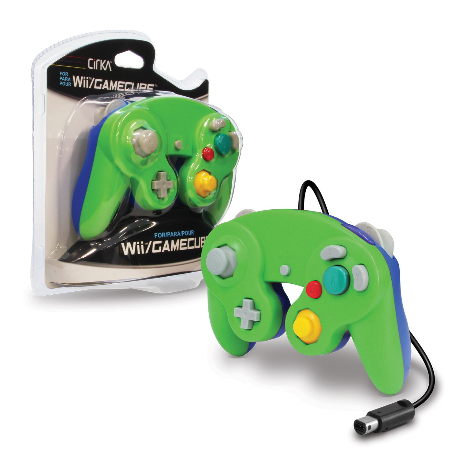 CIRKA M05819-GNBU GREEN AND BLUE WIRED CONTROLLER FOR WII AND