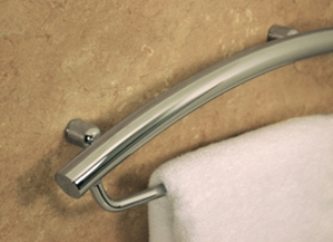 "Invisia™ 24"" Towel Bar with Integrated Support Rail - Magnolia White"