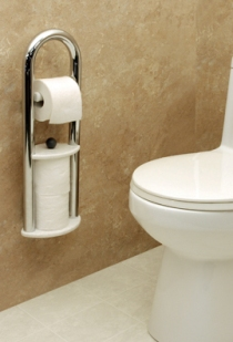 Invisia™ Wall Toilet Roll Holder with Integrated Support Rail - Bright Polish Chrome