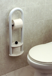 Invisia™ Wall Toilet Roll Holder with Integrated Support Rail - Magnolia White