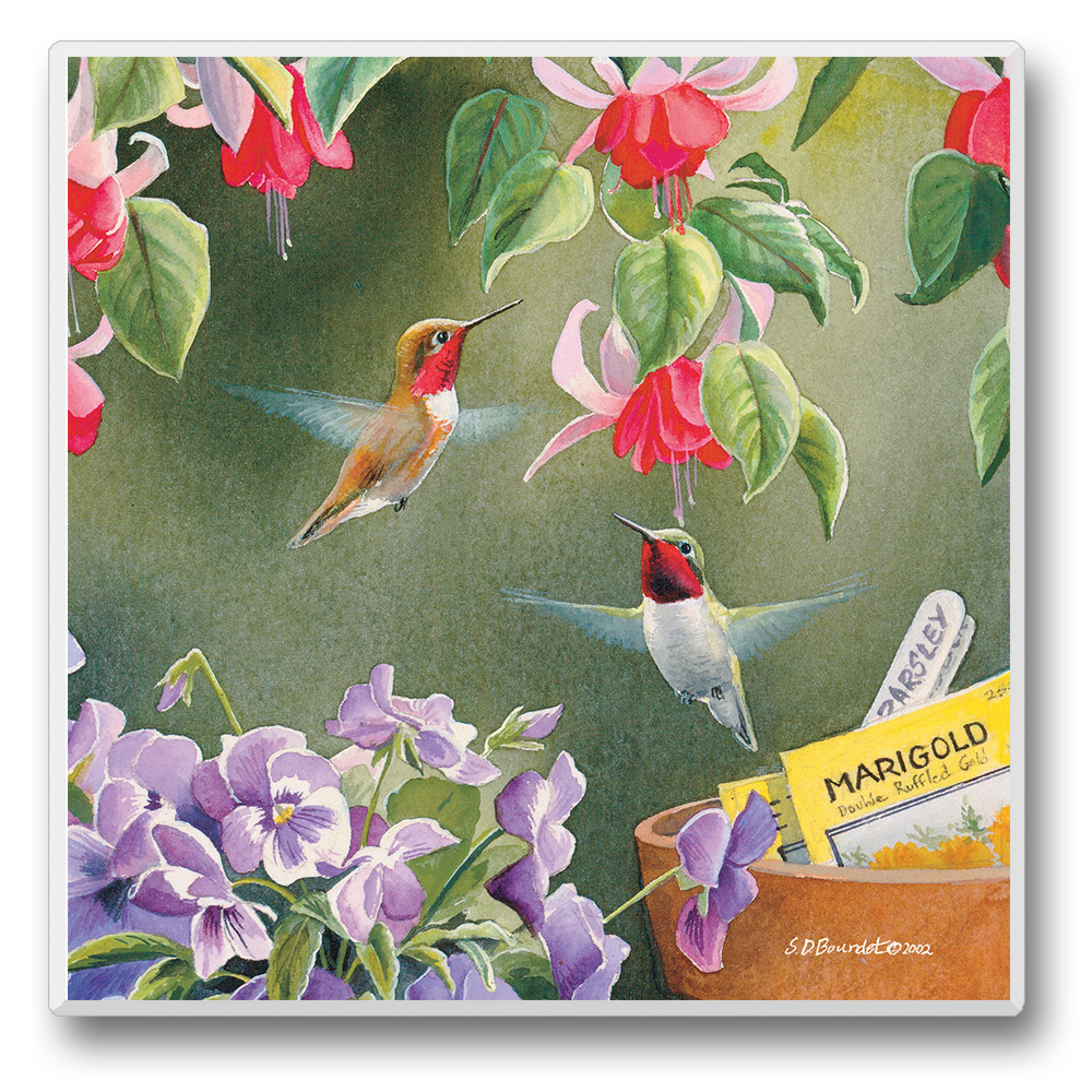 Take Flight Coasters Hummingbirds with Red Flowers Set of 6