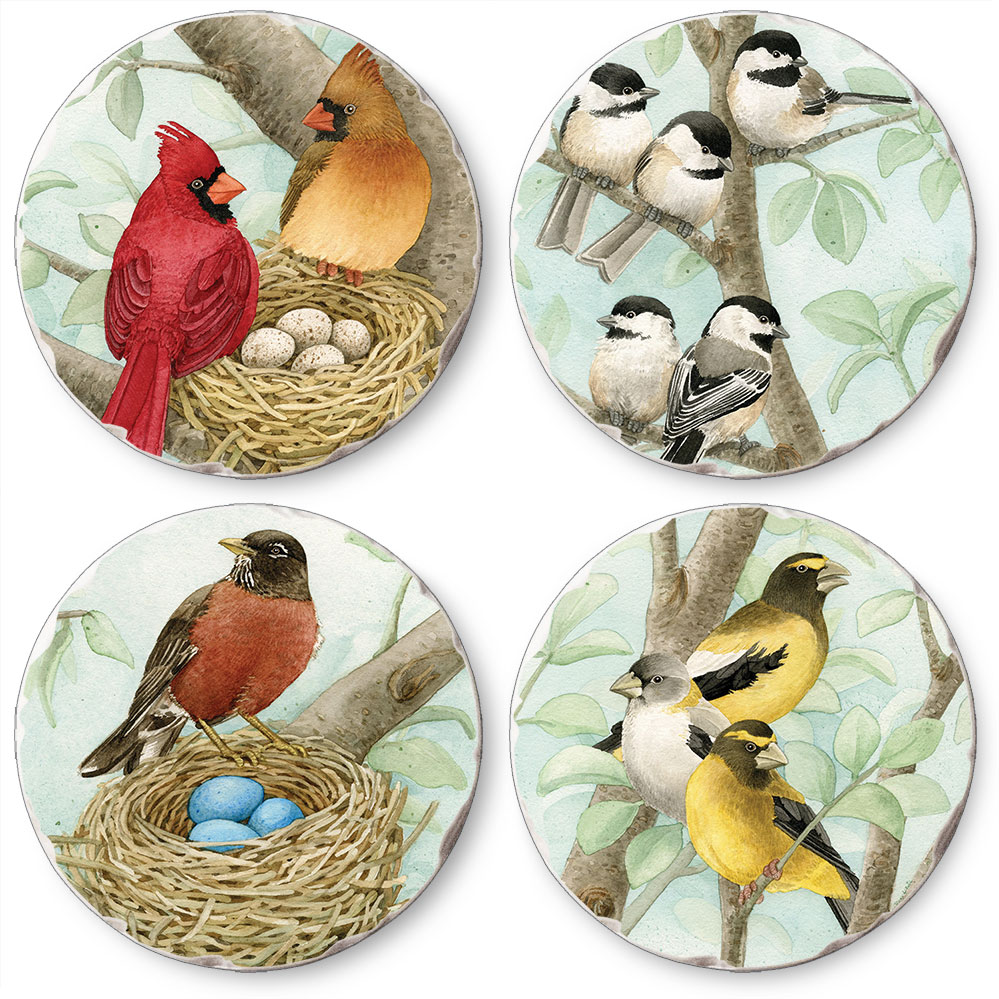 Songbirds Assorted Round Tumbled Stone Coasters Set of 4