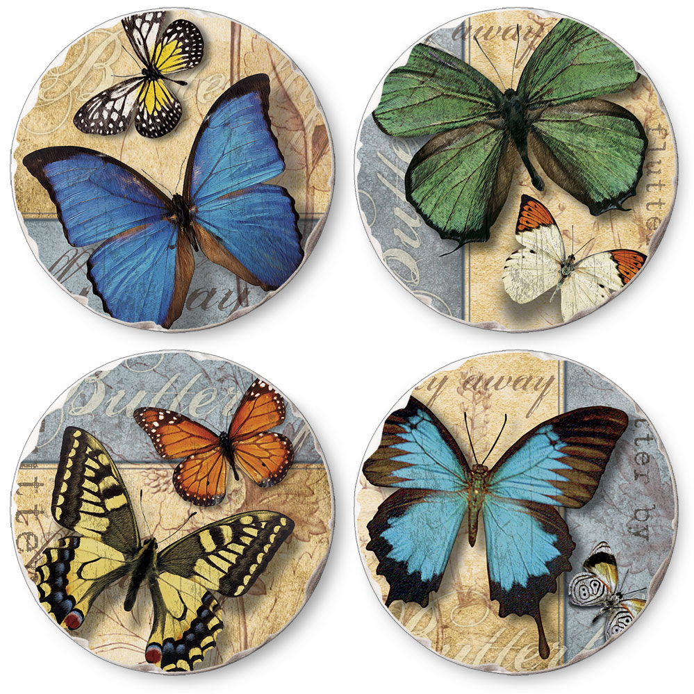 Flutter By Assorted Round Tumbled Stone Coasters Set of 4
