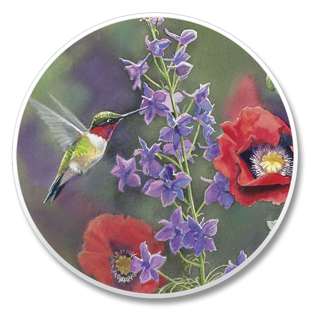 Hummingbird with Purple and Red Flowers Single Auto Coaster