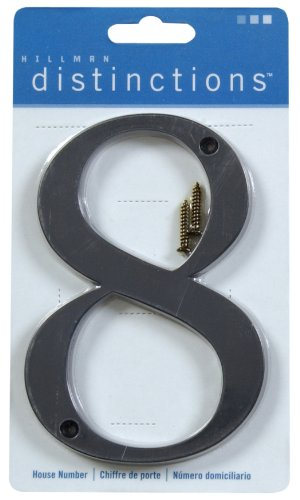 CHR-BLK-DIST-FLSH-4IN-#8 (Distinctions 4 in. Flush Mount Metal Number 8)