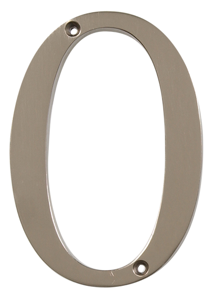 CHRT-NKL-DIST-FSH-4IN-#0 (Distinctions 4 in. Brushed Nickel Flush Mount House Number 0) -brushed nickel