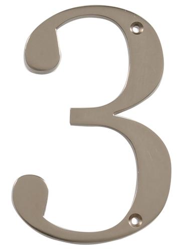 CHRT-NKL-DIST-FSH-4IN-#3 (Distinctions 4 in. Brushed Nickel Flush Mount House Number 3) -brushed nickel