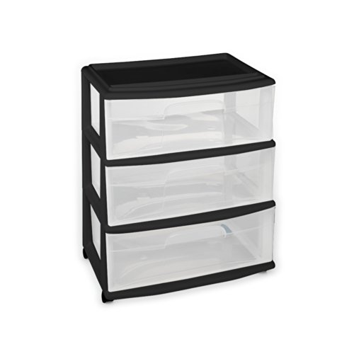 Large Three Drawer Cart black C