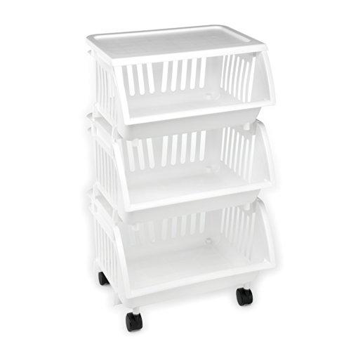 Three Tier Mobile Cart White