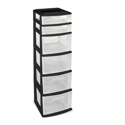 6 Drawer Medium Cart Black C