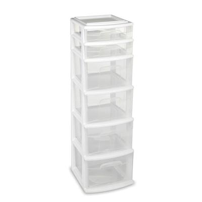 6 Drawer Medium Cart White C