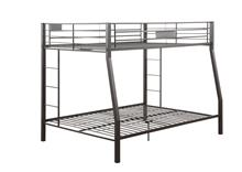 Sandy Black Metal Finish Twin over Full Bunk Bed with Builtin Side Laddders