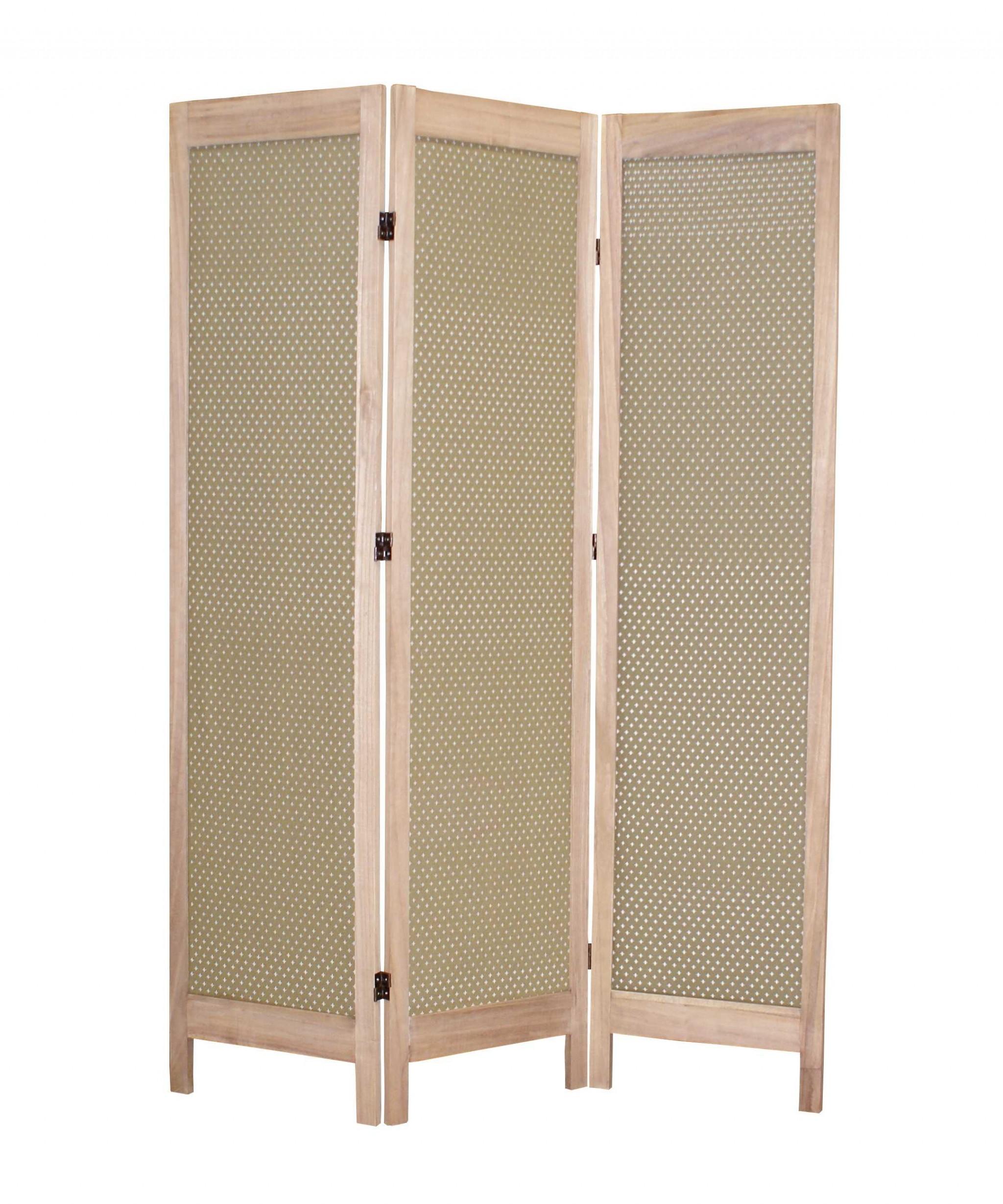 """1"""" x 48"""" x 67"""" Beige, Wood & Fabric - Screen"""
