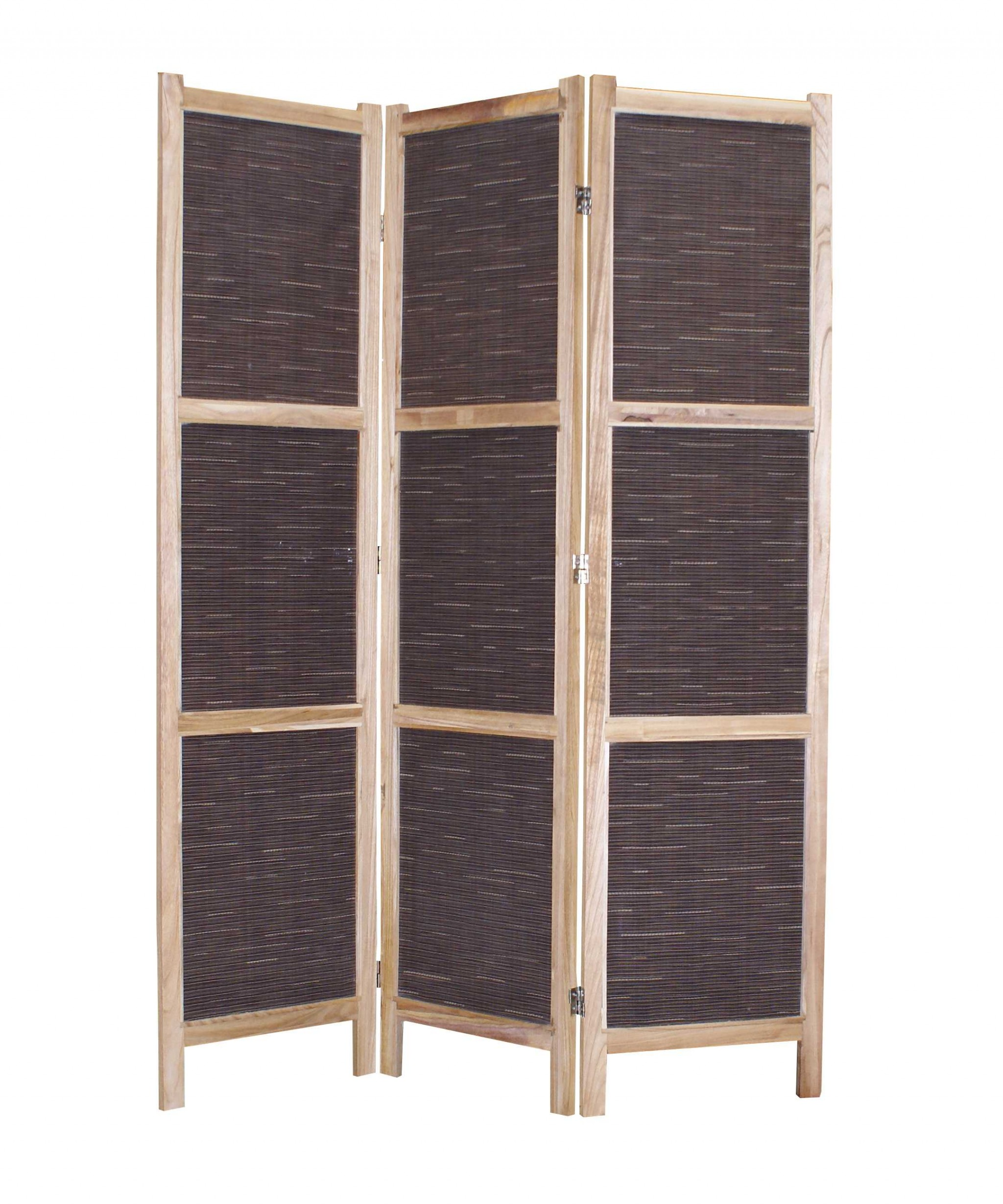 """1"""" x 48"""" x 67"""" Brown, Wood & Fabric - Screen"""