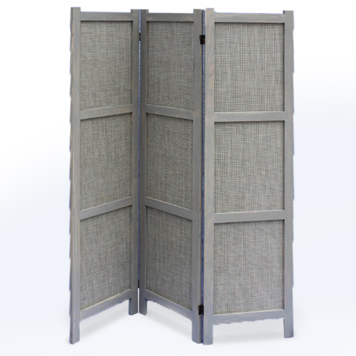 "1"" x 48"" x 67"" Gray, Wood & Fabric - Screen"