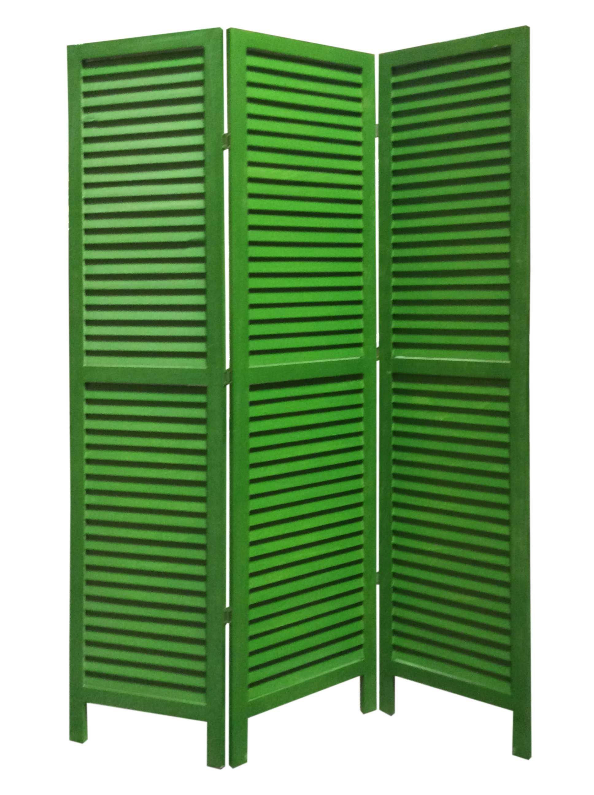 "1"" x 48"" x 67"" Green, Wood, Shutter -Screen"