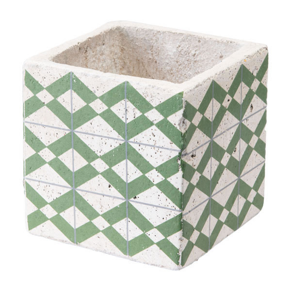 """4.9"""" X 4.9"""" X 4.9"""" Green And Yellow Cement Tribal Planter"""