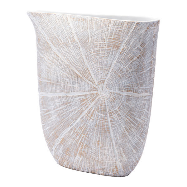 """13.9"""" X 3.8"""" X 15"""" White And Beige Antique Poly Jar"""