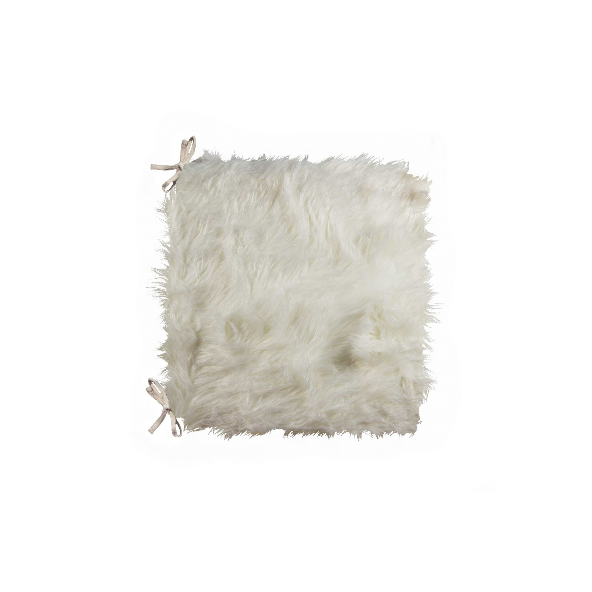 """2"""" x 16"""" x 16"""" Acrylic Plush, Microsuede and Polyfill Off White Chair Pads"""