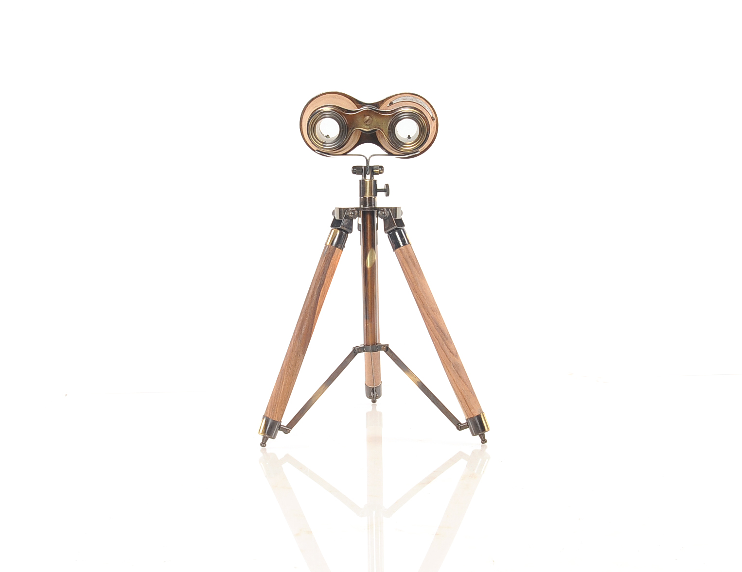 "8"" x 8"" x 11"" Wood Brass Binocular On Stand"