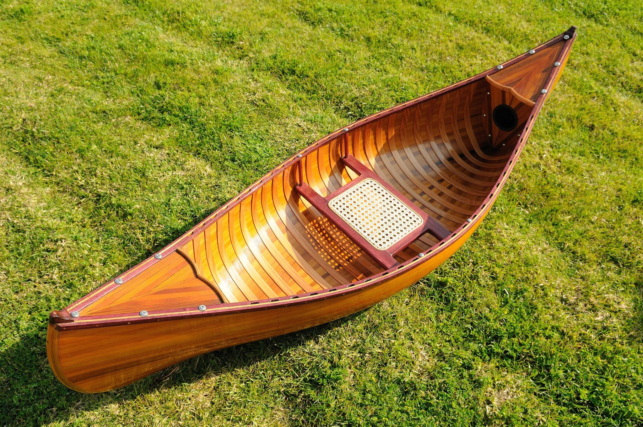 "20.25"" x 70.5"" x 15"" Wooden Canoe with Ribs"