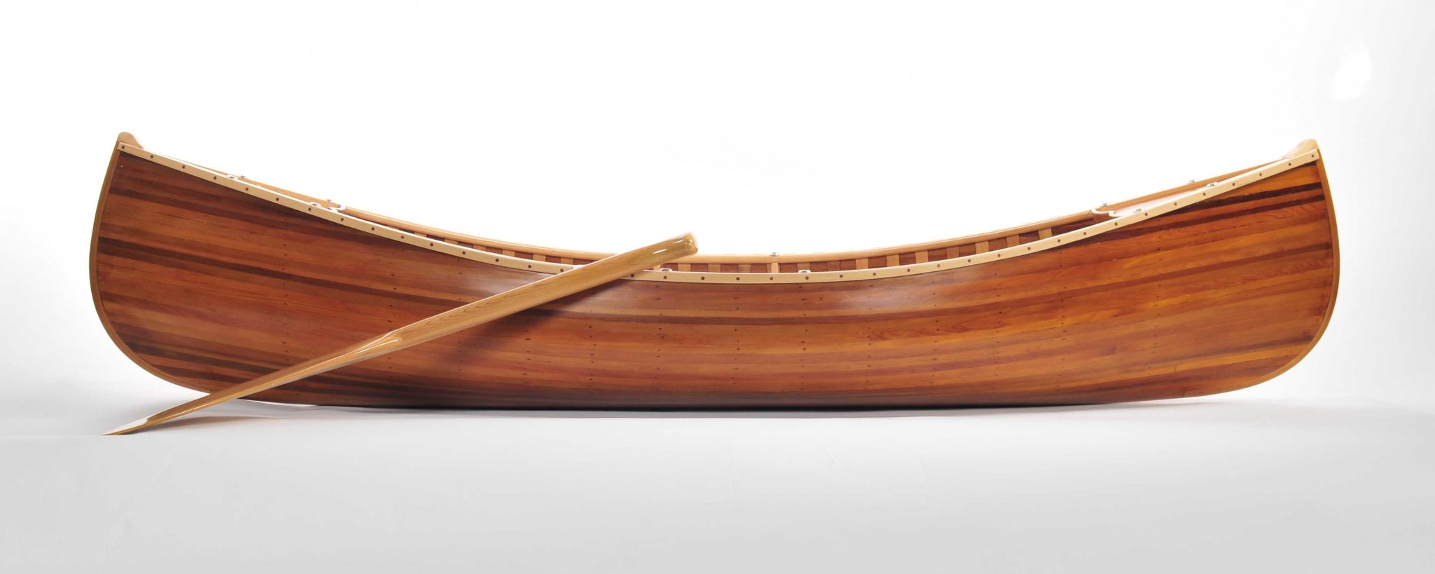 "20.25"" x 70.5"" x 15"" Wooden Canoe With Ribs Matte Finish"