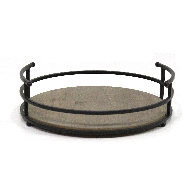 "12"" Round Metal Frame & Wood Tray"