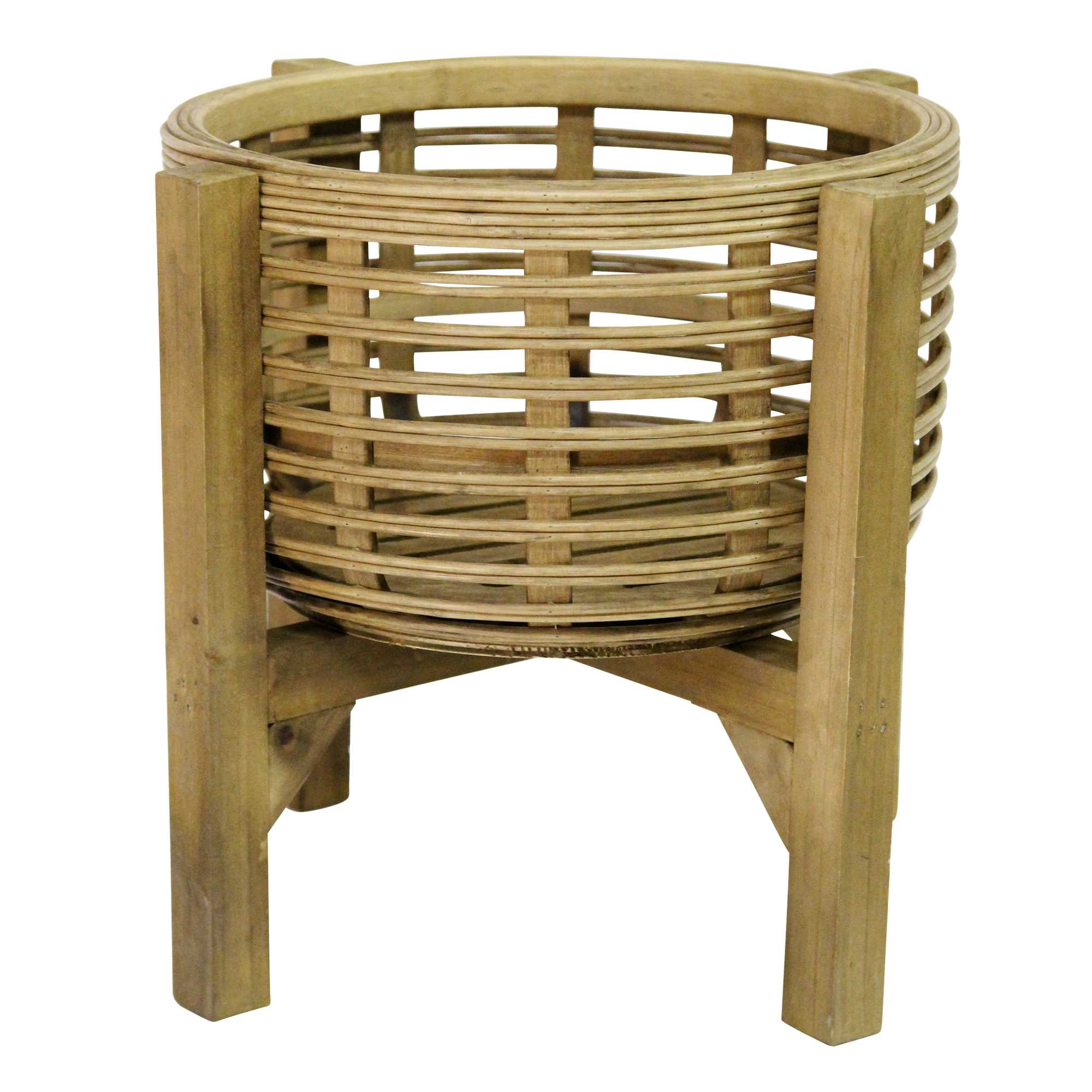 """12.8"""" X 12.8"""" X 11.5"""" Natural Wood 8 Bamboo 1 Wood Plant Stand"""