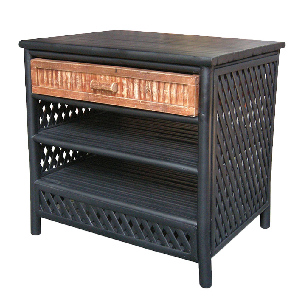 Akoni 1-Drawer 2-Shelf Bamboo End Table - Black/Brown