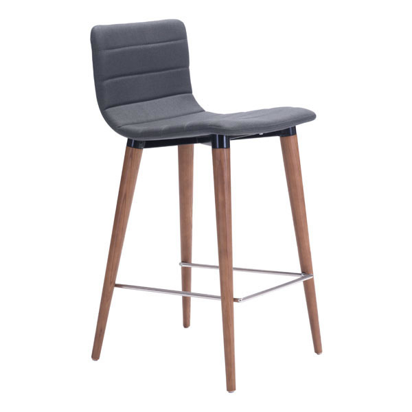 "16"" X 18.9"" X 34.3"" 2 Pcs Polyblend Counter Chair Gray"