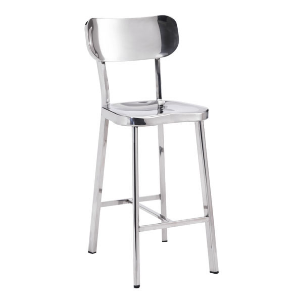 """15.6"""" X 17.7"""" X 37.4"""" 2 Pcs Stainless Steel Counter Chair"""