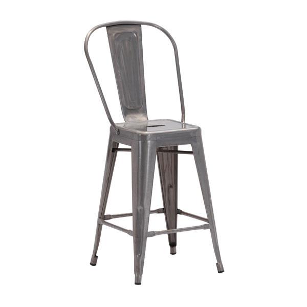 "16.5"" X 21.5"" X 40"" 2 Pcs Gunmetal Counter Chair"